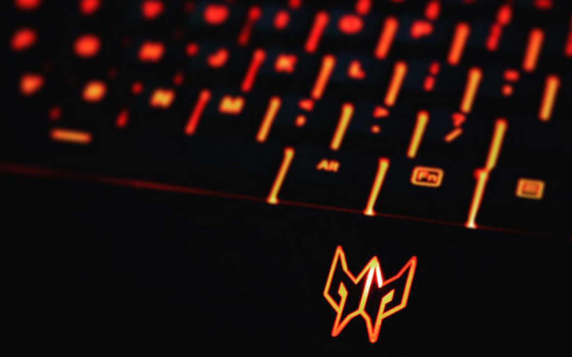 A Predator's cup logo on a keyboard.