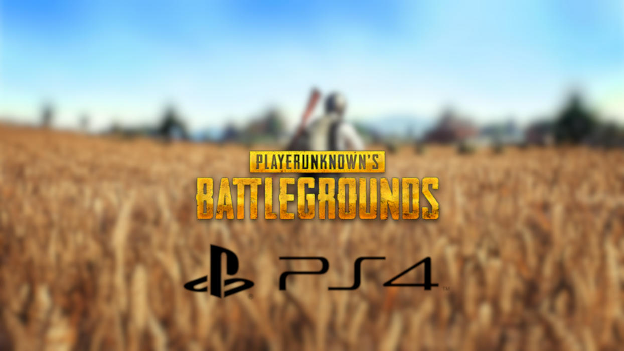PUBG's logo along with that of PS4 against a background of the game.