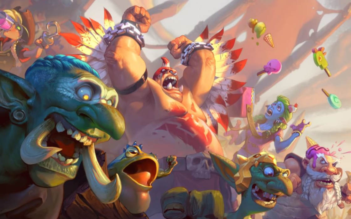 Artwork from Hearthstone's latest expansion, Rastakhan's Rumble.