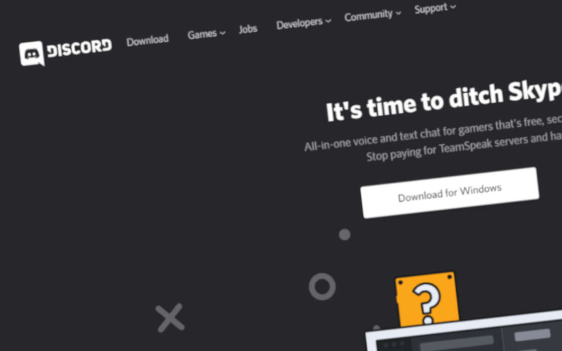 DIscord's homepage. Time to ditch Skype and TeamSpeak.