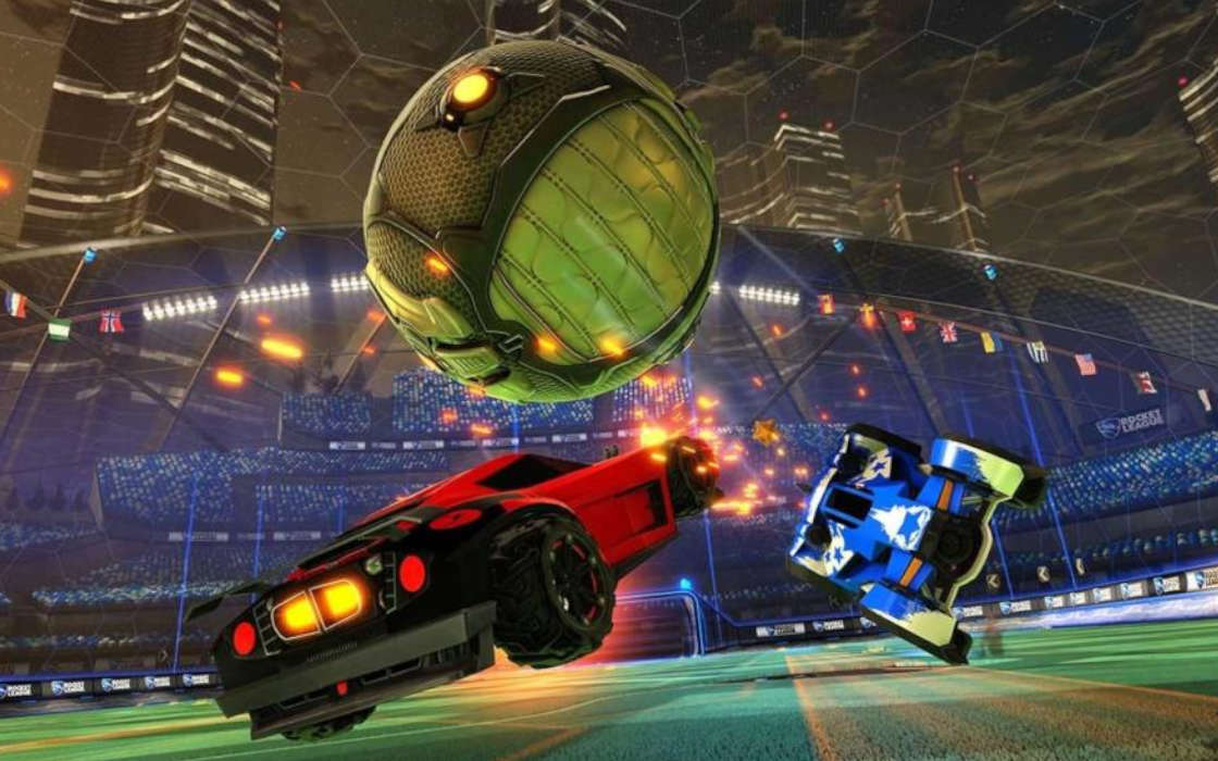 Rocket League game in progress.