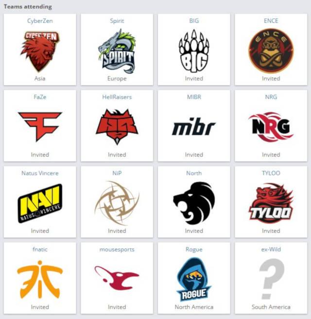 List of attending teams at StarLadder i-Series S7 in Shanghai.