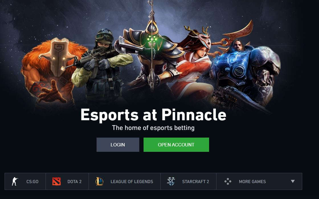 A screen grab from Pinnacle's home esports page.