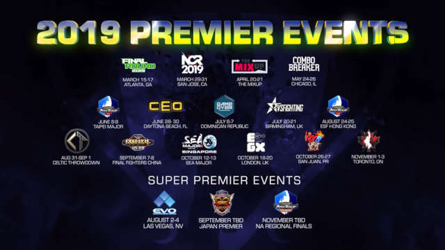 All the Premier and Super Premier events the players will compete in, for 2019. (credits: Capcom)