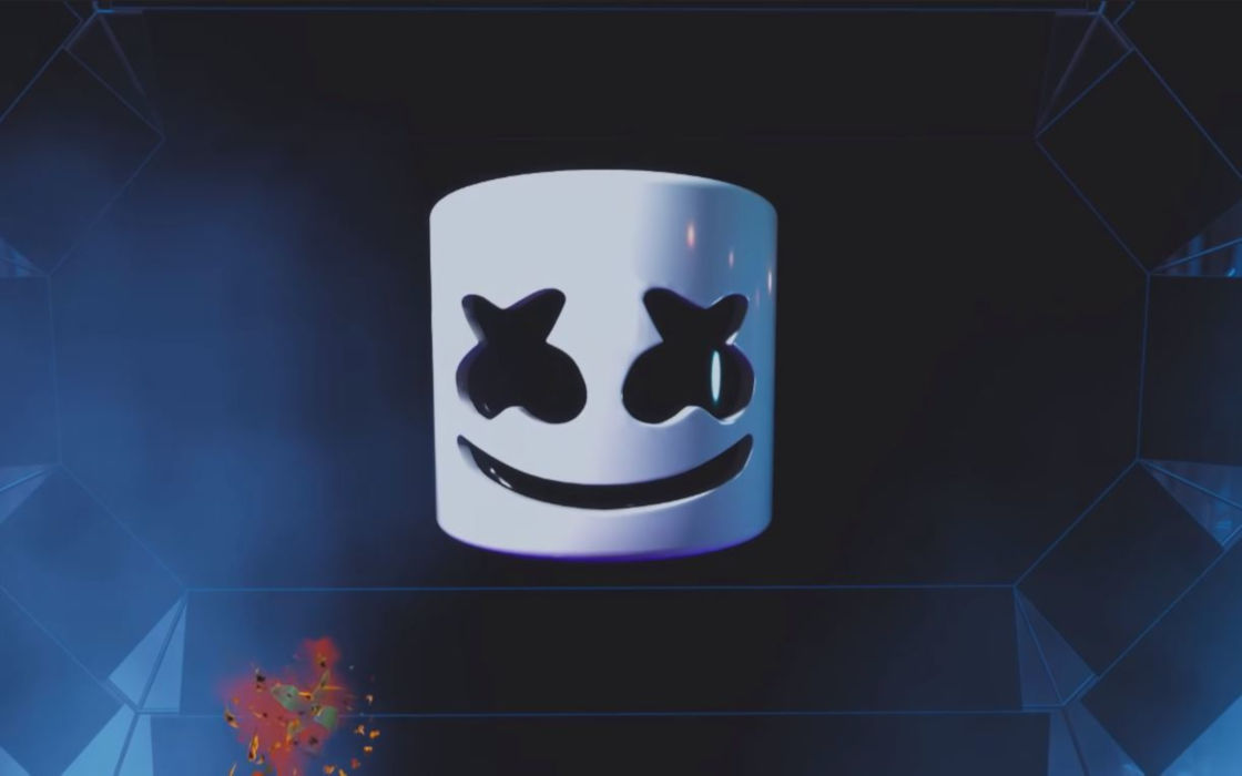 Marshmello's avatar in Fortnite. An excerpt minutes before the Fortnite concert.